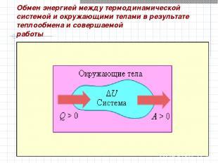 Обмен энергией между термодинамической системой и окружающими телами в результат
