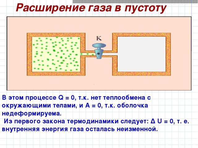 Расширение газа в пустоту В этом процессе Q=0, т.к. нет теплообмена с окружающими телами, и A=0, т.к. оболочка недеформируема. Из первого закона термодинамики следует: Δ U=0, т.е. внутренняя энергия газа осталась неизменной.