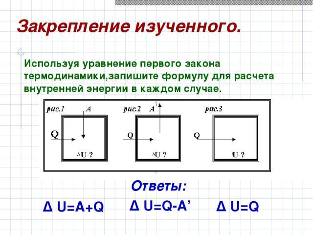 Δ U=A+Q Δ U=Q Δ U=Q-A' Используя уравнение первого закона термодинамики,запишите формулу для расчета внутренней энергии в каждом случае. Закрепление изученного. Ответы: