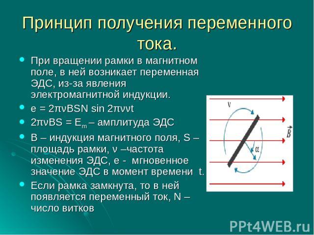 Принцип получения переменного тока. При вращении рамки в магнитном поле, в ней возникает переменная ЭДС, из-за явления электромагнитной индукции. e = 2πνBSN sin 2πννt 2πνBS = Em – амплитуда ЭДС В – индукция магнитного поля, S – площадь рамки, ν –час…