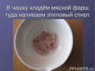 В чашку кладём мясной фарш, туда наливаем этиловый спирт.
