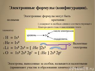 Электронные формулы (конфигурации). Электронные формулы могут быть полными кратк