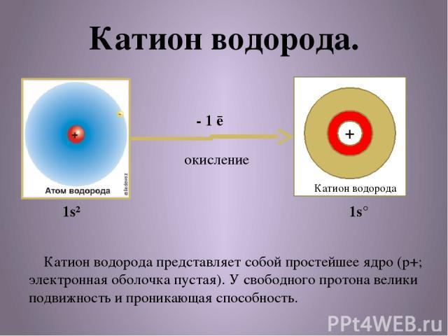Катион водорода. + Катион водорода - 1 ē окисление Катион водорода представляет собой простейшее ядро (p+; электронная оболочка пустая). У свободного протона велики подвижность и проникающая способность. 1s² 1s°