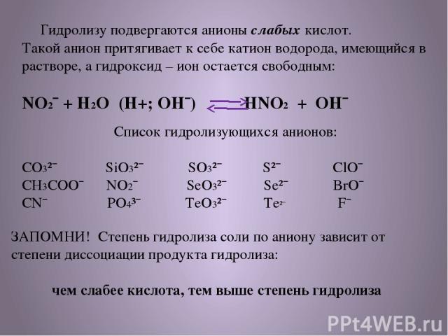 Гидролизу подвергаются анионы слабых кислот. Такой анион притягивает к себе катион водорода, имеющийся в растворе, а гидроксид – ион остается свободным: NO2¯ + H2O (H+; OH¯) HNO2 + OH¯ Список гидролизующихся анионов: CO3²¯ SiO3²¯ SO3²¯ S²¯ ClO¯ CH3C…