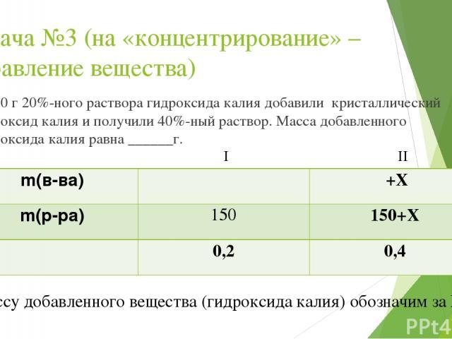Задача №3 (на «концентрирование» – добавление вещества) К 150 г 20%-ного раствора гидроксида калия добавили кристаллический гидроксид калия и получили 40%-ный раствор. Масса добавленного гидроксида калия равна ______г. I II *Массу добавленного вещес…