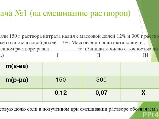 Задача №1 (на смешивание растворов) Смешали 150 г раствора нитрата калия с массовой долей 12% и 300 г раствора этой же соли с массовой долей 7%. Массовая доля нитрата калия в полученном растворе равна __________ %. (Запишите число с точностью до цел…