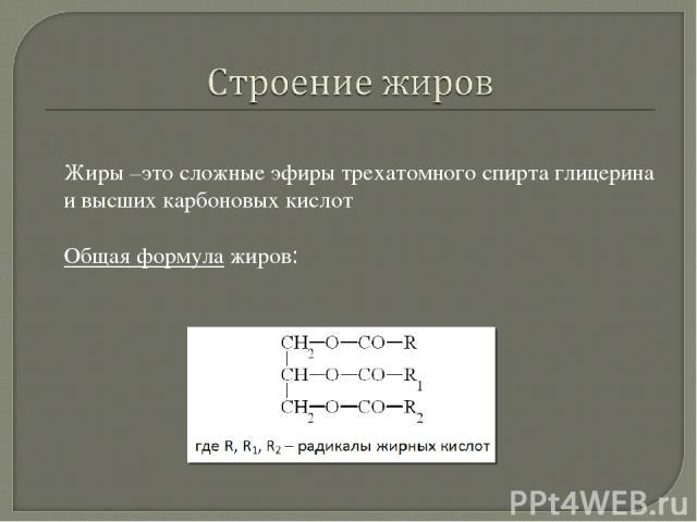 Жиры –это сложные эфиры трехатомного спирта глицерина и высших карбоновых кислот Общая формула жиров:
