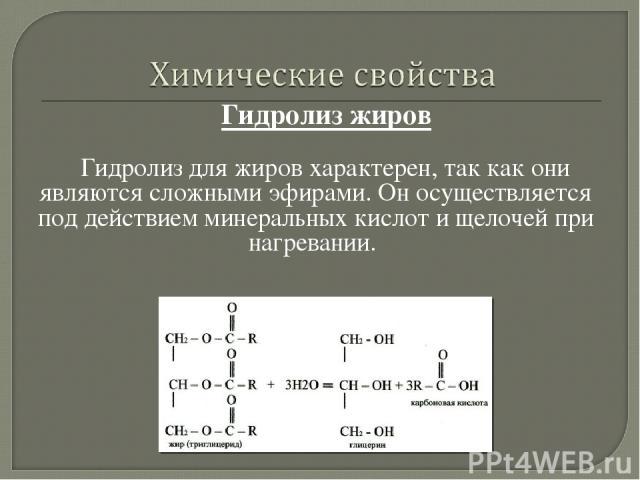 Гидролиз жиров Гидролиз для жиров характерен, так как они являютсясложными эфирами. Он осуществляется под действием минеральных кислот и щелочей при нагревании.