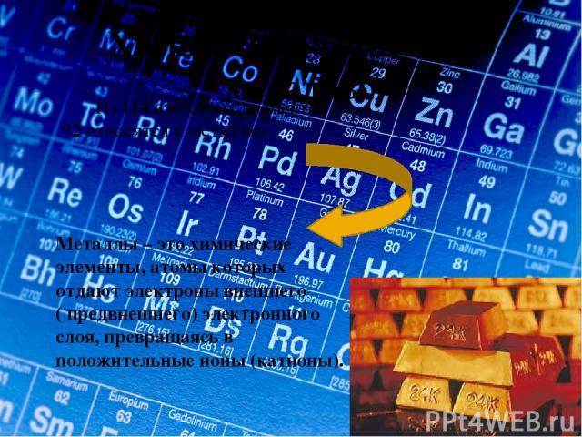 Химические элементы – металлы. Из 114 известных элементов – 92 относятся к металлам. Металлы – это химические элементы, атомы которых отдают электроны внешнего ( предвнешнего) электронного слоя, превращаясь в положительные ионы (катионы).