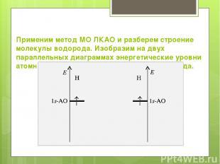 Применим метод МО ЛКАО и разберем строение молекулы водорода. Изобразим на двух