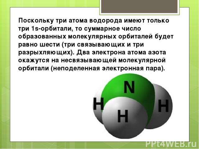 Поскольку три атома водорода имеют только три 1s-орбитали, то суммарное число образованных молекулярных орбиталей будет равно шести (три связывающих и три разрыхляющих). Два электрона атома азота окажутся на несвязывающей молекулярной орбитали (непо…