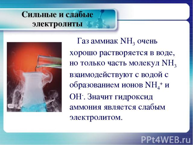 Газ аммиак NH3 очень хорошо растворяется в воде, но только часть молекул NH3 взаимодействуют с водой с образованием ионов NH4+ и ОН-. Значит гидроксид аммония является слабым электролитом. Сильные и слабые электролиты