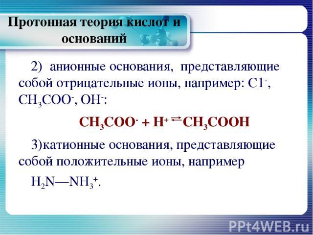 Протонная теория кислот и оснований 2) анионные основания, представляющие собой отрицательные ионы, например: С1-, СН3СОО-, ОН-: СН3СОО- + Н+ СН3СООН катионные основания, представляющие собой положительные ионы, например H2N—NH3+.