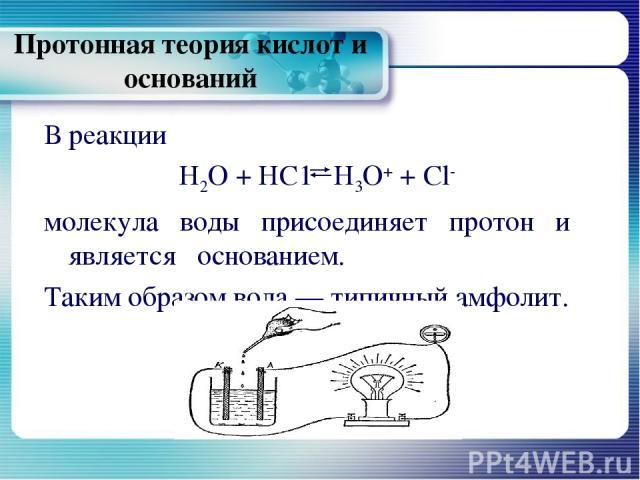 Протонная теория кислот и оснований В реакции Н2О + НС1 Н3О+ + Сl- молекула воды присоединяет протон и является основанием. Таким образом вода — типичный амфолит.