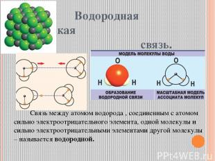Водородная химическая связь. Связь между атомом водорода , соединенным с атомом