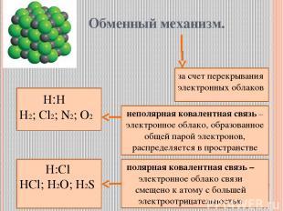 Обменный механизм. за счет перекрывания электронных облаков Н:Н Н2; Cl2; N2; O2