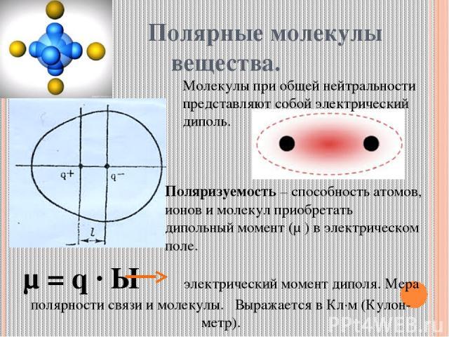 Полярные молекулы вещества. Молекулы при общей нейтральности представляют собой электрический диполь. Поляризуемость – способность атомов, ионов и молекул приобретать дипольный момент (μ ) в электрическом поле. μ = q · Ɩ электрический момент диполя.…