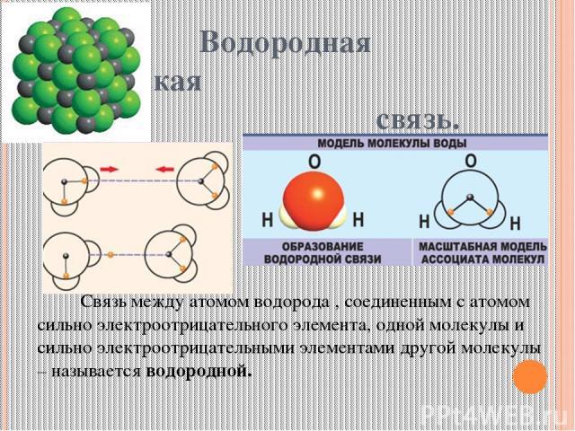 Водородная химическая связь. Связь между атомом водорода , соединенным с атомом сильно электроотрицательного элемента, одной молекулы и сильно электроотрицательными элементами другой молекулы – называется водородной.