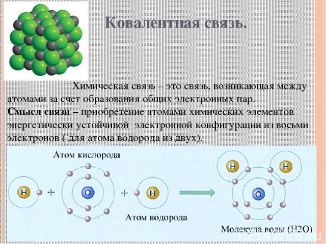 Ковалентная связь. Химическая связь – это связь, возникающая между атомами за счет образования общих электронных пар. Смысл связи – приобретение атомами химических элементов энергетически устойчивой электронной конфигурации из восьми электронов ( дл…