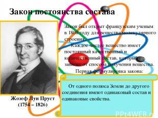 Закон постоянства состава веществ. Жозеф Луи Пруст (1754 – 1826) Закон был откры