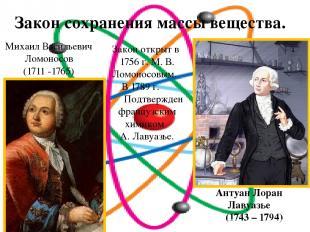 Закон сохранения массы вещества. Антуан Лоран Лавуазье (1743 – 1794) Михаил Васи