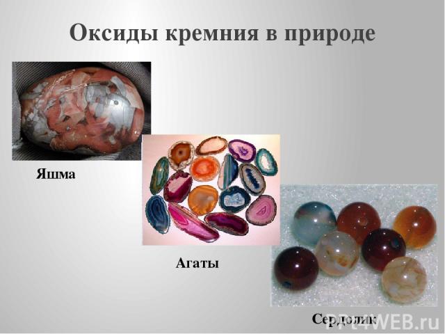 Оксиды кремния в природе Яшма Сердолик Агаты