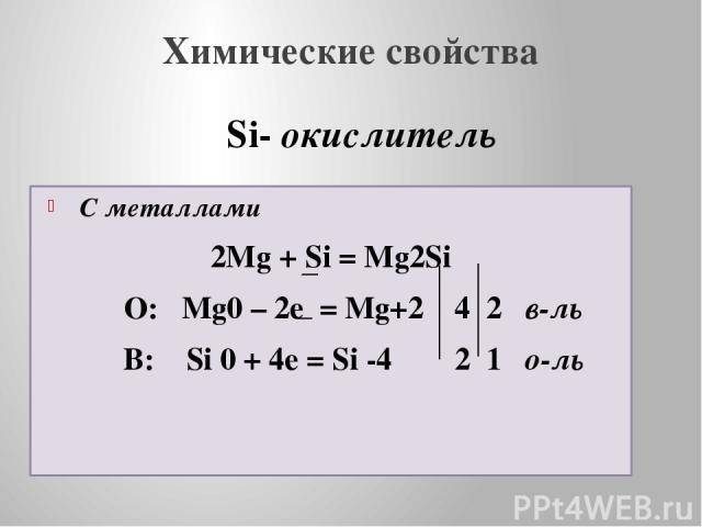 Химические свойства С металлами 2Mg + Si = Mg2Si О: Mg0 – 2e = Mg+2 4 2 в-ль В: Si 0 + 4e = Si -4 2 1 о-ль Si- окислитель