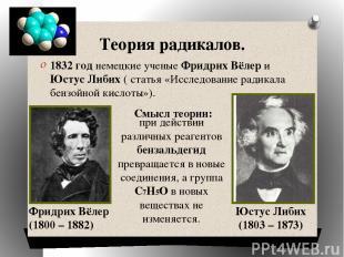 Теория радикалов. 1832 год немецкие ученые Фридрих Вёлер и Юстус Либих ( статья
