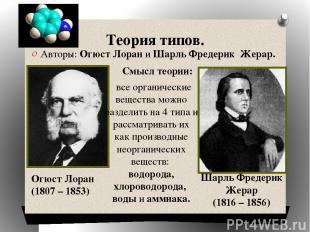 Теория типов. Авторы: Огюст Лоран и Шарль Фредерик Жерар. Огюст Лоран (1807 – 18