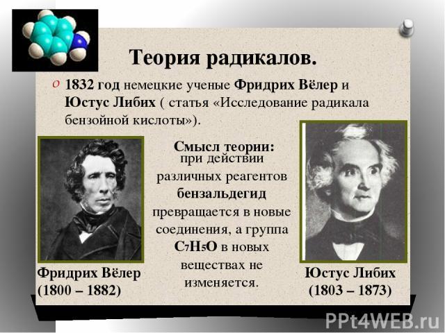 Теория радикалов. 1832 год немецкие ученые Фридрих Вёлер и Юстус Либих ( статья «Исследование радикала бензойной кислоты»). Смысл теории: Фридрих Вёлер (1800 – 1882) Юстус Либих (1803 – 1873) при действии различных реагентов бензальдегид превращаетс…