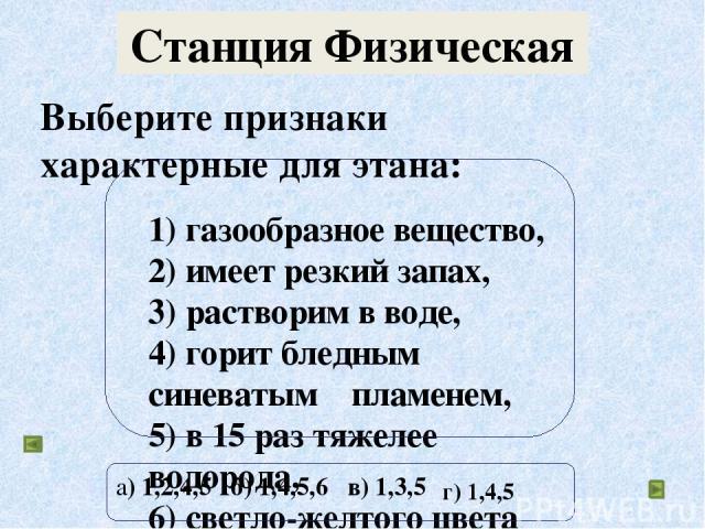Выберите признаки характерные для этана: 1) газообразное вещество, 2) имеет резкий запах, 3) растворим в воде, 4) горит бледным синеватым пламенем, 5) в 15 раз тяжелее водорода, 6) светло-желтого цвета а) 1,2,4,5 б) 1,4,5,6 в) 1,3,5 Станция Физическ…