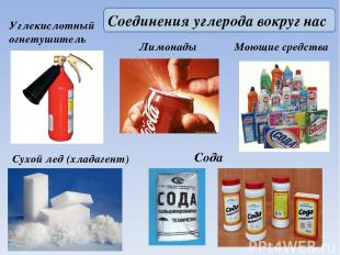 Углекислотный огнетушитель Сухой лед (хладагент) Сода Моющие средства Лимонады С