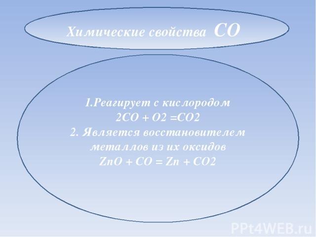 1.Реагирует с кислородом 2CO + O2 =CO2 2. Является восстановителем металлов из их оксидов ZnO + CO = Zn + CO2 Химические свойства CO
