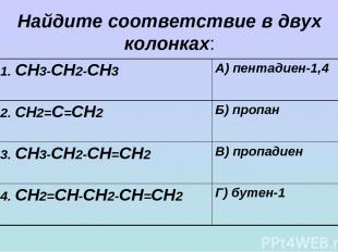 Найдите соответствие в двух колонках: 1. СН3-СН2-СН3 А) пентадиен-1,4 2. СН2=С=С