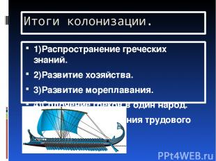 Итоги колонизации. 1)Распространение греческих знаний. 2)Развитие хозяйства. 3)Р