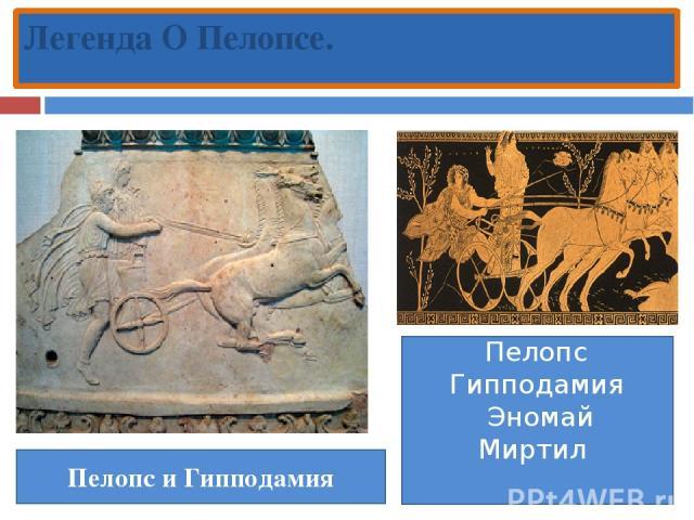Легенда О Пелопсе. Пелопс и Гипподамия Пелопс Гипподамия Эномай Миртил