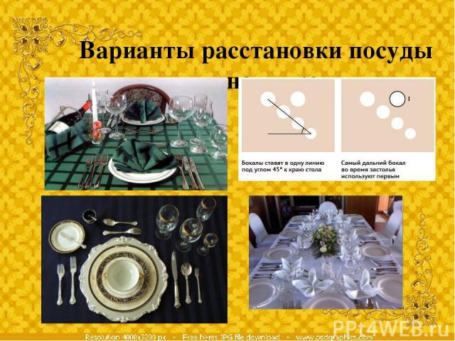 Варианты расстановки посуды для напитков