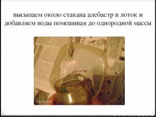 высыпаем около стакана алебастр в лоток и добавляем воды помешивая до однородной