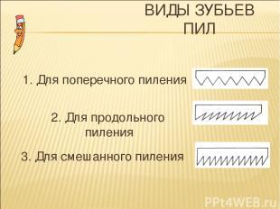 ВИДЫ ЗУБЬЕВ ПИЛ 1. Для поперечного пиления 3. Для смешанного пиления 2. Для прод