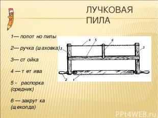ЛУЧКОВАЯ ПИЛА 1— полотно пилы 2— ручка (шаховка) 3— стойка 4 — тетива 5 - распор