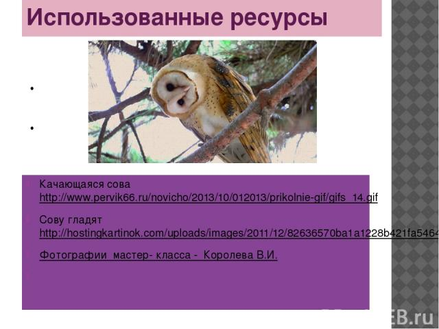 Использованные ресурсы Качающаяся сова http://www.pervik66.ru/novicho/2013/10/012013/prikolnie-gif/gifs_14.gif Сову гладят http://hostingkartinok.com/uploads/images/2011/12/82636570ba1a1228b421fa5464995838.gif Фотографии мастер- класса - Королева В.И.