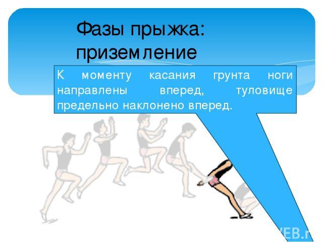 К моменту касания грунта ноги направлены вперед, туловище предельно наклонено вперед. Фазы прыжка: приземление