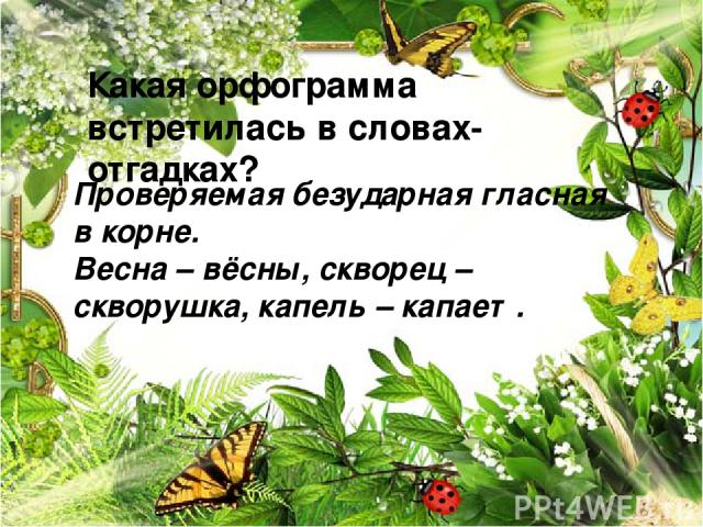 Какая орфограмма встретилась в словах-отгадках? Проверяемая безударная гласная в корне. Весна – вёсны, скворец – скворушка, капель – капает.