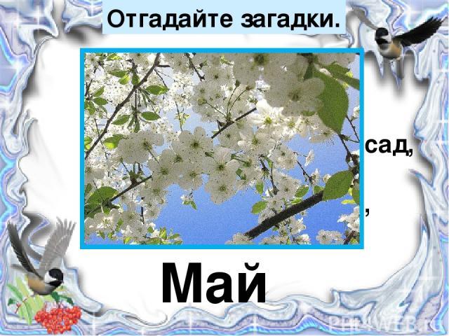 Отгадайте загадки. Зеленеет даль полей, Запевает соловей. В белый цвет оделся сад, Пчёлы первые летят, Гром грохочет. Угадай, Что за месяц это? Май