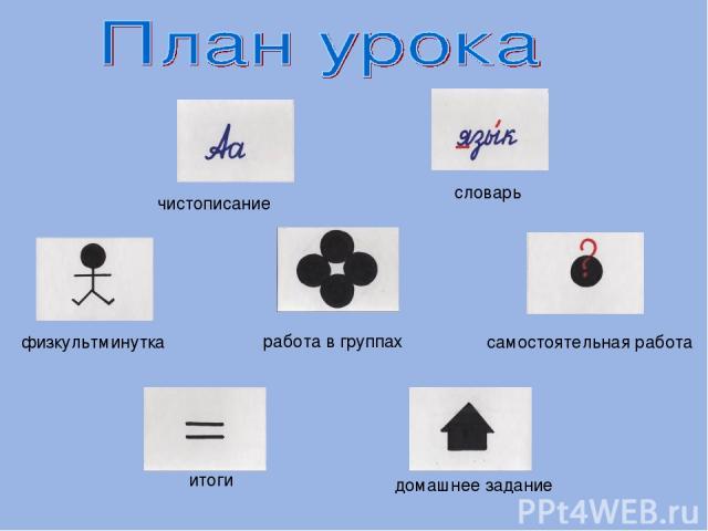 чистописание словарь физкультминутка самостоятельная работа работа в группах итоги домашнее задание