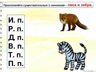 Просклоняйте существительные 1 склонения – лиса и зебра. И. п. Р. п. Д. п. В. п.