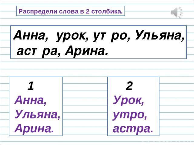 Распредели слова в 2 столбика. Анна, урок, утро, Ульяна, астра, Арина. 1 Анна, Ульяна, Арина. 2 Урок, утро, астра.
