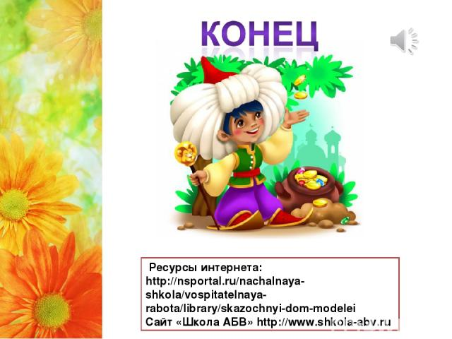 Ресурсы интернета: http://nsportal.ru/nachalnaya-shkola/vospitatelnaya-rabota/library/skazochnyi-dom-modelei Cайт «Школа АБВ» http://www.shkola-abv.ru