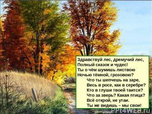 Здравствуй лес, дремучий лес, Полный сказок и чудес! Ты о чём шумишь листвою Ноч