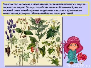 Знакомство человека с ядовитыми растениями началось еще на заре его истории. Это